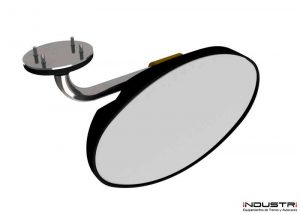 Oval interior rear view mirrors for lorries