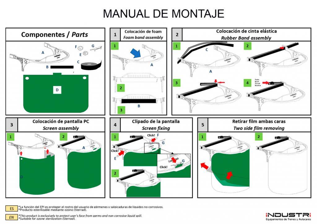 Manual de instrucciones de montaje de la máscara o pantalla facial Industri