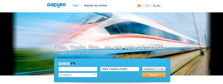 Web de GoEuro para reservar billetes de tren, autobús y avión